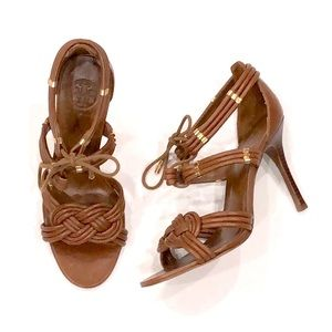Tory Burch Audrianna Leather Lace Up Sandal Heels